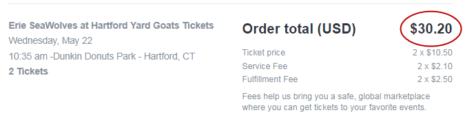 Higher price with StubHub hidden fees