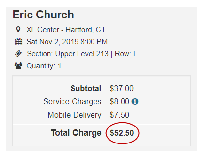 Higher price with Tickets-Center's added fees